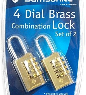 Samsonite 4 Dial Brass Travel Combination Lock - Twin Pack