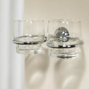 Bekerhouder met glas dubbel Torino (wit kapje)