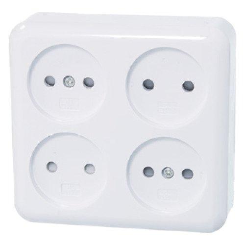 opbouw wandcontactdoos 4 voudig vierkant wit - Badkamer Accessoires ...