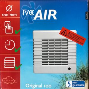 IVC Air Inbouw Ventilator 100 mm-Timer+Vochtsensor
