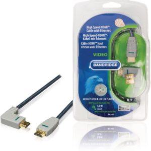 Bandridge HDMI 1.4 High Speed with Ethernet kabel haaks naar rechts - 5 meter