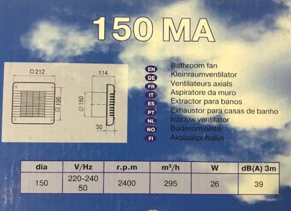 Badkamer / Toiletventilator Serviprof 150MA Timer + Lamellen
