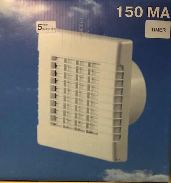 Serviprof Inbouw Ventilator 150MA-Timer+Lamellen