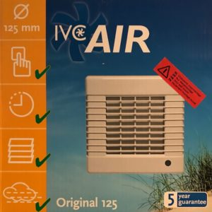 IVC Air Inbouw Ventilator 125 mm-Timer+Vochtsensor
