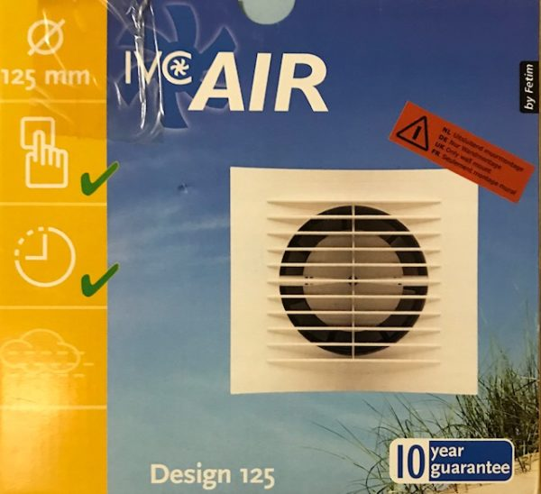 IVC Air Inbouw Ventilator 125 mm-Wit-Timer