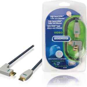 Bandridge HDMI 1.4 High Speed with Ethernet kabel haaks naar rechts - 3 meter